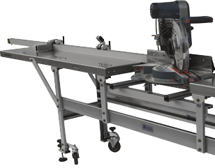 Typical saw guide workstation with Roller Tables Saw Support Frame Flip-Up Posi-stop units and Universal Guide Rail